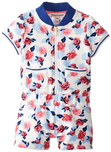 Juicy Couture Baby Baby-Girls Newborn Romper, Small Rose Print, 3-6 Months