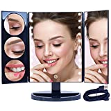 Mirrorvana XLarge Hollywood Style Trifold LED Lighted Makeup Mirror (2017 X-Large Model) | Adjustable Cosmetic Vanity Mirror w/Brilliant 1x, 3x, 5x & 10x Magnification