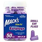 Health & Personal Care : Mack's Slim Fit Soft Foam Earplugs, 50 Pair - Small Ear Plugs for Sleeping, Snoring, Traveling, Concerts, Shooting Sports & Power Tools, 50 Count