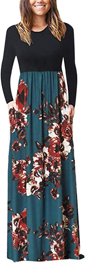 WEISUN Women Casual Dress Winter Autumn Party Plus Size Long Sleeve O-Neck Print Tank Maxi Dress
