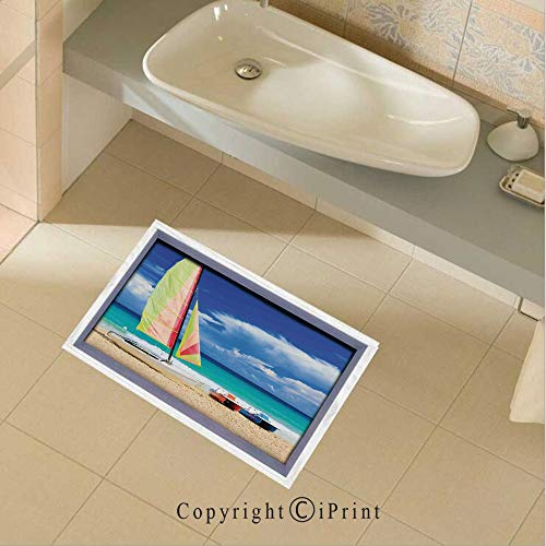 baihemiya Floor Stickers Waterproof Safety Exotic Cuban Beach with Wind Surfing Boat and Waves Tropic Coastal Picture Wall Floor Decals Decor for Bathroom Kitchen Backsplash, 35.4x22.8Inch,Blue Cream