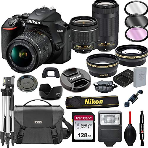 Nikon D3500 DSLR Camera with 18-55mm VR and 70-300mm Lenses + 128GB Card, Tripod, Flash, and More (20pc Bundle) (For Cameras Digital Nikon Tripods)