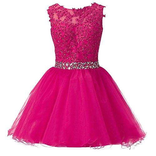 Robes De Mariée Courte Robe Dentelle Une Robe De Soirée Ligne De Cocktail Sans Manches Dos Ouvert Rose Chaud