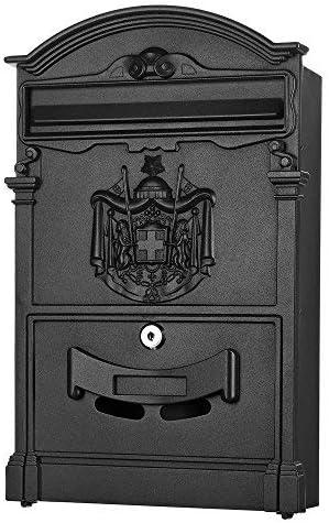 Melko Briefkasten Retro Vintage Gold mit A4 Einwurf-Format Wandbriefkasten Patina mit Namensschild und Sicherheitsschloss
