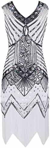 ec594ce2ca25 Woolala Women s 1920s Gastby Sequined Embellishment Flapper Dress Vintage  Club Cocktail Dresses