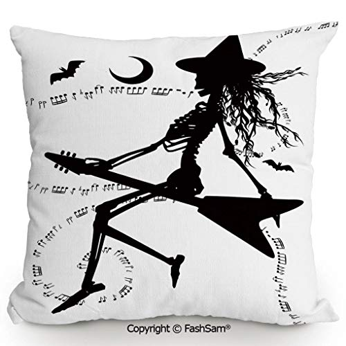 FashSam Decorative Throw Pillow Cover Witch Flying on Electric Guitar Notes Bat Magical Halloween Artistic Illustration for Pillow Cover for Living Room(20