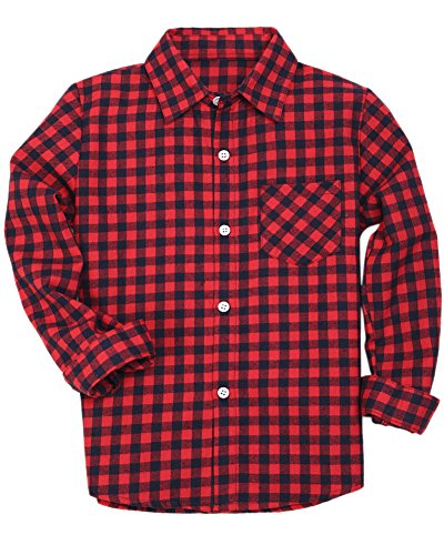 Boys Long Sleeves Button Down Check Plaid Flannel Woven Shirt Blouse, Red Black, Age 5T-6T (5-6 Years) = Tag 130