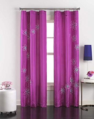 (Jillian Embroidered Taffeta Rod Pocket Curtain Panel, 63 Inch,)