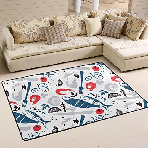 - CENHOME Area Rugs Crawfish Meal Fork Lemon Pattern Floor Mat Indoor/Outdoor Non Slip Rugs Home Entryway Carpet Doormat