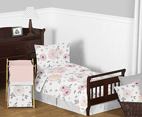Sweet Jojo Designs 5-Piece Blush Pink, Grey and White Shabby Chic Watercolor Floral Girl Toddler Kid Children's Bedding Set Comforter, Sham and Sheets with Rose Flower Polka Dot -