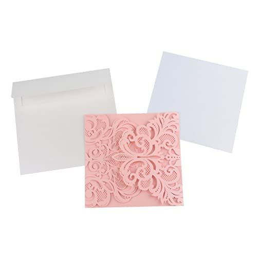 generic 10pcs laser cut hollow flower invitation cards wedding party cards pink - Wedding Invitation Cards Online
