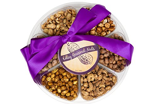 Edley Gourmet Nuts Deluxe 6-Flavor Nuts Gift Tray, Perfect Gift for Administrative Professionals Day - Sugar Plum Chocolate, 1 1/2 Pounds