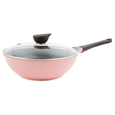Wok (Chef's Pan) with Glass Lid - 12-inch Ceramic Nonstick in Pink by Neoflam