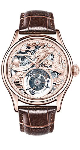 BOS Men's Tourbillon Mechanical Luxury Rose Gold Tone Dragon Skeleton Private Customization Watch by BOS