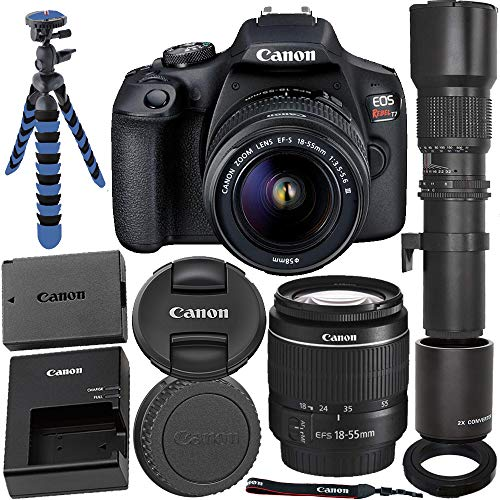 Canon EOS Rebel T7 Digital SLR Camera w/ 18-55mm F/3.5-5.6 III Lens + Promotional Ultimaxx 500mm Lens W/ 2X Converter (1000mm)