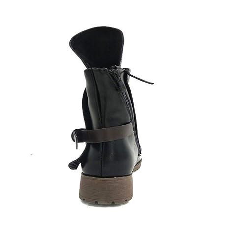 LILICAT❋ Botas de Caballero Botas de Martin para Mujer Botines con Cordones Botines de Piel de Martin Knight Cinturón con Hebilla de cinturón Boot Boot ...