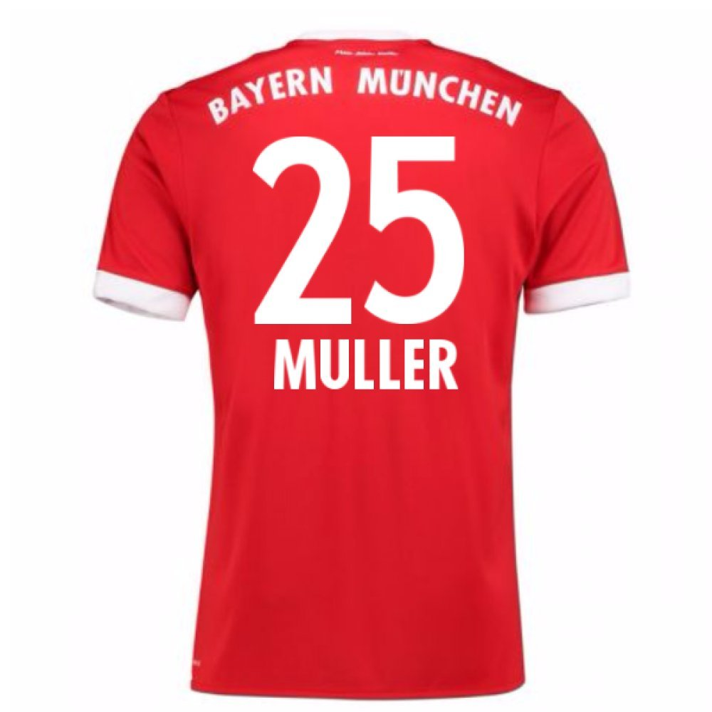 2017-18 Bayern Munich Home Short Sleeve Shirt (Muller 25) B077PV6NSG Medium 38-40