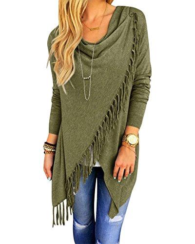 Collar Wrap Blouse - Women's Casual Long Sleeve Cowl Collar Tassel Asymmetric Hem Wrap Blouse Top