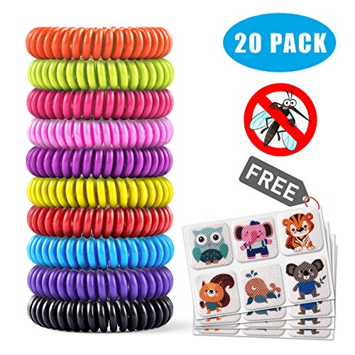 Mosquito Repellent Bracelet 20 Pack with 4 Patches,Waterproof Bug Repellent Wrist Bands pest control for Kids & Adults, 100% Natural Deet-free Resealable,Safe Indoor Outdoor Protection