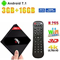 H96 Pro Plus TV Box 3GB RAM 16GB ROM Android 7.1 Nougat UHD 4K Smart TV Box with Dual-band WIFI 2.4GHz/5.0GHz Bluetooth 4.1 1000M LAN 4K 2K
