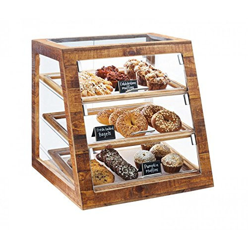 Cal-Mil 3432-S-99 Slanted Display Case, Self Serve, 21.5'' Height, 21'' Width, 21.5'' Length, Madera by Cal Mil