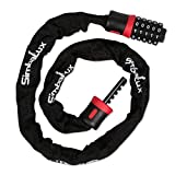 SimbaLux Bicycle Combination Lock (5-Digit Combo) by Heavy-Duty, Anti-Theft Chain Cable Security | Pick-Resistant, Quick Secure and Unlock System | Long, Universal Fit, Red Band