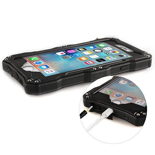 Alienwork Schutzhülle für iPhone 6/6s Stoßfest Hülle Case Bumper spritzwasserfest Staubdicht Schneedicht Metall schwarz AP6S06-01