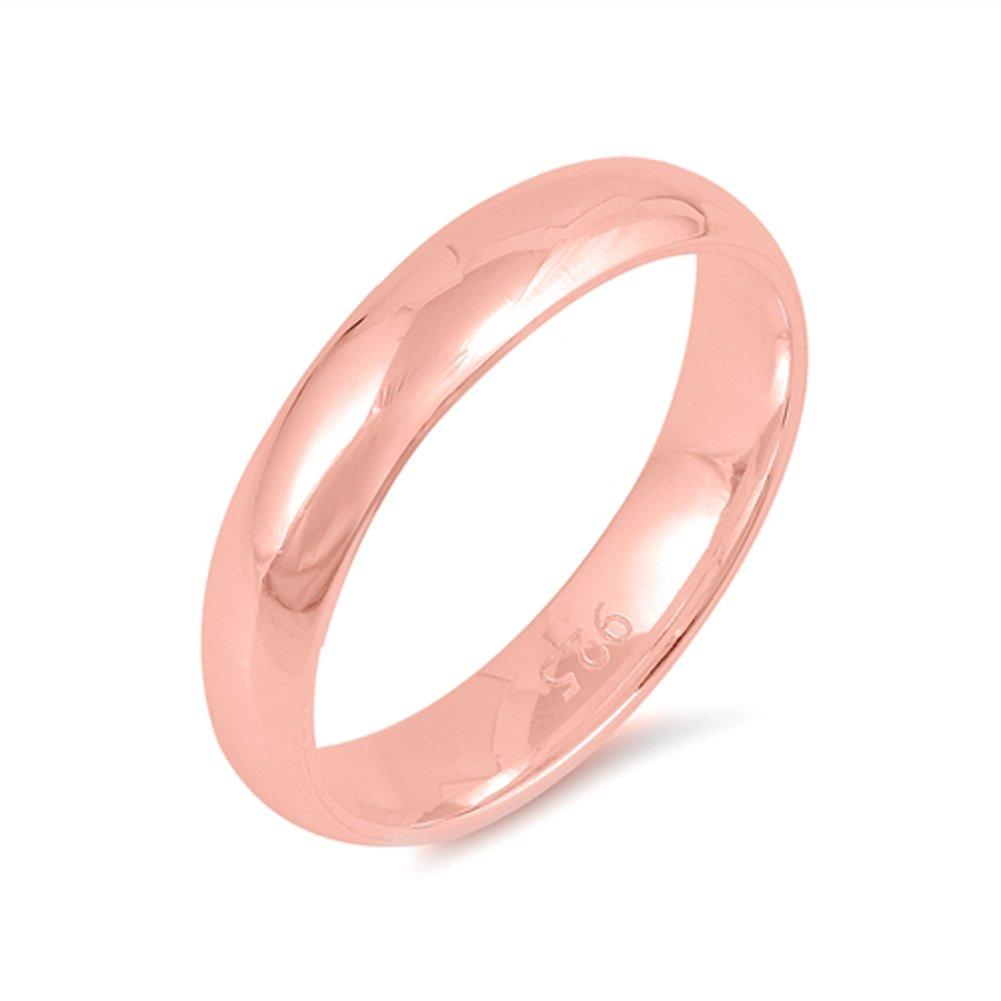 Amazon.com: Rose Gold-Tone 10mm Classic Comfort Fit Ring 925 ...