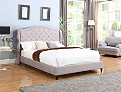 King Size Linen Platform Bed. High quality Linen construction. With Slats unlike anyone else who sells beds. All you need is a Mattress no bulky box spring to worry about.