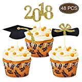 #8: 2018 CongratsGraduation Cupcake Toppers, Food/Appetizer Picks For Graduation Party Decorations, Set of 48