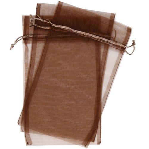 Brown Organza Bags (30 Designer Organza Fabric Gift Bags and Gift Pouches Party Gift Bags Espresso Chestnut Brown 6.75