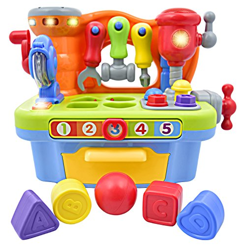 Deluxe Toy Workshop Playset for Kids with Interactive Sounds & Lights | Great Educational Learning Toy for Teaching Colors, Shapes, Numbers, and The Alphabet | Great Gift for Toddler Boys -