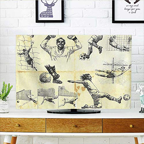 Leighhome Cord Cover for Wall Mounted tv Sports of Soccer Player and Goalkeeper Positions Soccer Theme Sketch Art Cover Mounted tv W19 x H30 INCH/TV 32