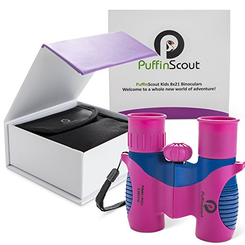 Kids Binoculars set 8x21 for Girls PINK orGREEN PuffinScout for Birdwatching-Spotting-High resolution REAL OPTICS Star-gazing Educational Toys for Girls - Outdoor Toys for Girls - Birthday Gifts Girls