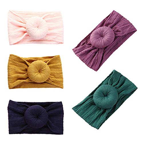 DANMY Baby Girl Nylon Headbands Newborn Infant Toddler Hairbands and Bows Child Hair Accessories (Nylon Donut53 (5pcs))