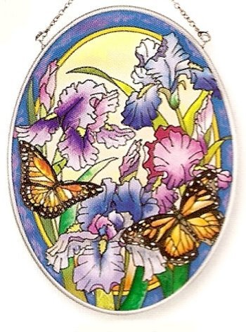 (Amia Hand Painted Glass Suncatcher with Iris and Butterfly Design, 5-1/4-Inch by 7-Inch)