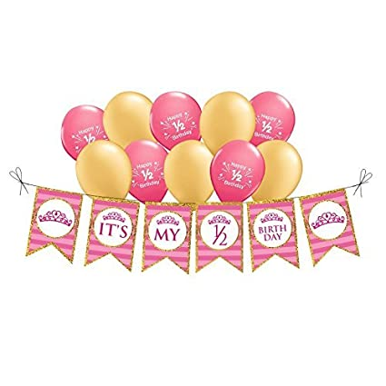 PrettyurParty Girls Princess Half Birthday Balloons And Banner Photo Shoot Props Decorations Small Pink Gold Amazonin Toys Games