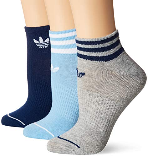 (adidas Women's Originals Socks, Shortie Ankle Sock (3-Pack), clear blue/white/mystery blue/light heather grey,)