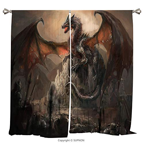 Rod Pocket Curtain Panel Thermal Insulated Blackout Curtains for Bedroom Living Room Dorm Kitchen Cafe/2 Curtain Panels/108 x 84 Inch/Dragon,Medieval Fight with Gothic Monster Horror War Middle Age St ()