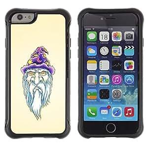 LASTONE PHONE CASE / Suave Silicona Caso Carcasa de Caucho Funda para Apple Iphone 6 / Beard Wizzard Witch Art Portraid White Old Man