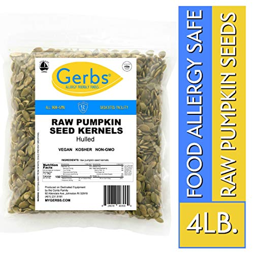 Raw Pumpkin Seed Kernels, 4 LBS by Gerbs - Top 14 Food Allergy Free & NON GMO - Vegan, Keto Safe & Kosher - Premium - Chinese Pumpkin Seeds
