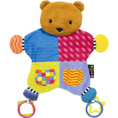 Kids Amazing Baby Bear Teether Blanket w/ dangling rings soft plush teether toy