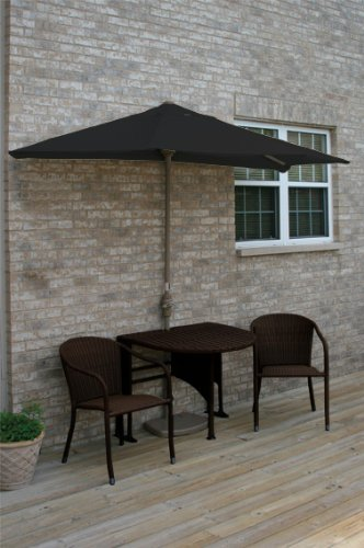 Terrace Mates Genevieve 42 in. 5 Pc Folding Sunbrella Set (Black)