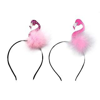 Amosfun Flamingo Fascia Hawaii Animale Cerchio per Capelli per Bambini Donne Ragazze Costume Feste Dress Up Copricapo per Il Compleanno 2 PZ (Rosa / Viola)