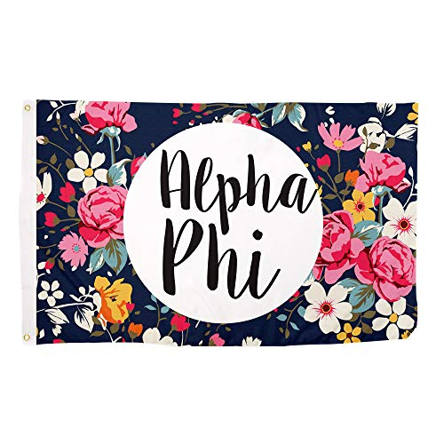 Alpha Phi Floral Pattern Sorority Flag Greek Use as a Banner Large 3 x 5 Feet Sign Decor A Phi