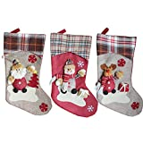 YAMUDA 3 Pcs Set Big size Classic Christmas Stockings for Decoration