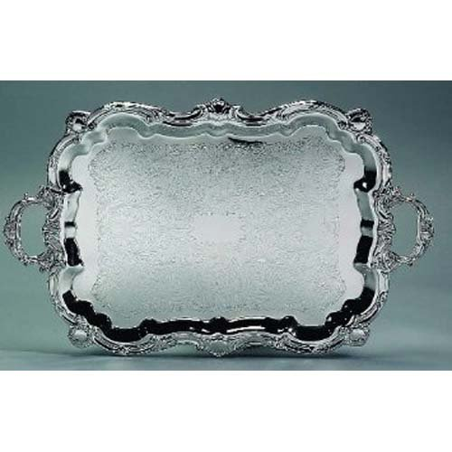 Elegance Silver 89731 Silver Plated Footed Baroque Tray, 18