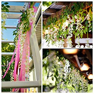 PULEIDI Artificial Wisteria Flowers - Artificial Hanging Flowers Wisteria Vine Garland Plants Flower Backdrop for Wedding Arch Decor,Baby Shower,Party, Home Decor 9