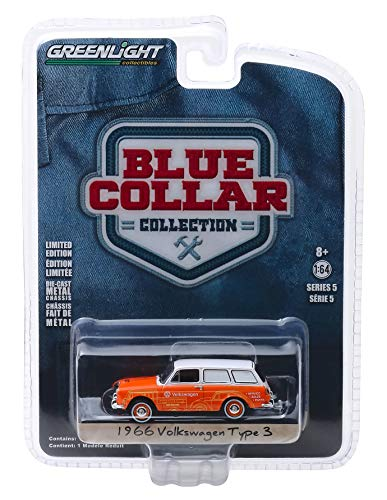 1966 Volkswagen Type 3 Panel Van Volkswagen Sales and Service Orange with White Top Blue Collar Collection Series 5 1/64 Diecast Model Car by Greenlight 35120 C