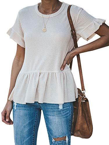 Womens Waffle Knit Shirts Short Sleeve Peplum Ruffled Layered Hem Blouse Tops